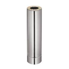 Димохідна труба нержавійка в оцинковці, 1 м (AISI 304)